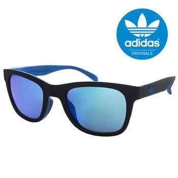 【adidas 愛迪達】潮流三葉草LOGO方框太陽眼鏡/運動眼鏡#黑藍色-水銀藍鏡(004009027)