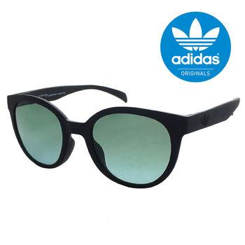 【adidas 愛迪達】復古圓大框太陽眼鏡/運動眼鏡-黑框#綠鏡面(002009009)