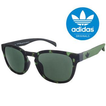 【adidas 愛迪達】潮流三葉草LOGO復古圓框太陽眼鏡/運動眼鏡#綠色迷彩框-綠鏡面(001140030)