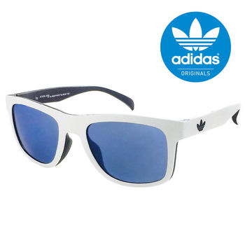 【adidas 愛迪達】三葉草LOGO獨特白色太陽眼鏡/運動眼鏡-鼻托防滑設計#藍色鏡面(000001009)