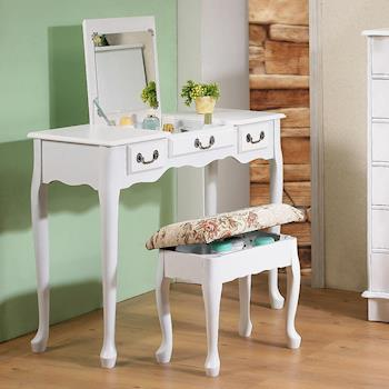 《CB》加寬型英倫風掀鏡兩用化妝書桌椅組