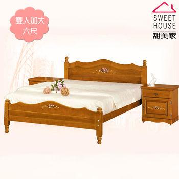 甜美家 古典彩繪全實木雙人加大6尺床架