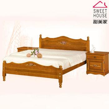 甜美家 古典彩繪全實木雙人五尺床架