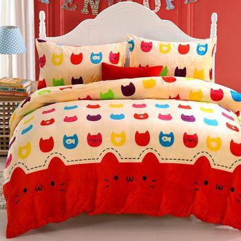 《DON貓咪樂章》加大四件式法蘭絨被套床包組