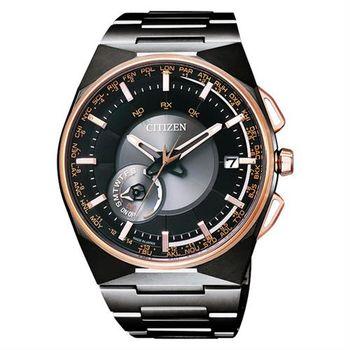CITIZEN 鈦衛星對時光動能錶-黑x玫瑰金/44mm CC2004-59E