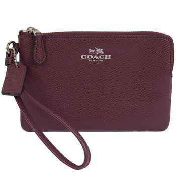 COACH 54626 馬車LOGO烙印防刮全皮革零錢包/手拿包.暗紫