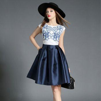 【理子時尚】無袖印花上衣拼接大擺裙洋裝