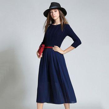 【理子時尚】深藍色長袖毛衣拼接百摺裙洋裝