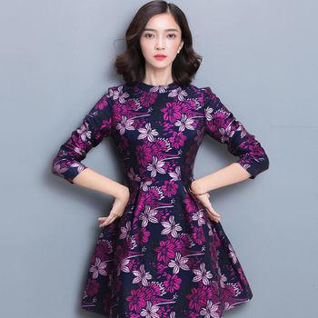 【理子時尚】優雅印花名媛風修身長袖連衣裙