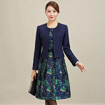 【糖潮】樹枝鳥語背心裙長袖短版外套兩件套