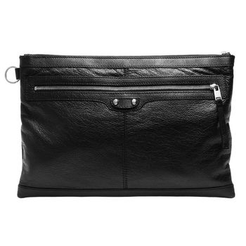 BALENCIAGA經典 CLIP 系列亮銀釦小羊皮拉鍊手拿iPad包(大-黑)