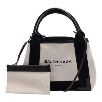 BALENCIAGA NAVY系列帆布X牛皮飾邊手提/肩背托特包(黑)