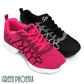 【GREEN PHOENIX】雙彩撞色幾何圖形輕量綁帶氣墊排舞鞋-桃紅色、黑色