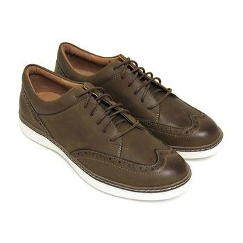 【GREEN PHOENIX】紳士雷射雕花綁帶臘感牛皮平底牛津鞋(男鞋)-深綠色