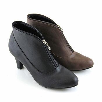 【Pretty】獨特弧線前拉鍊造型高跟短靴-咖啡色、黑色