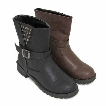 【Pretty】鉚釘皮帶扣側拉鍊裝飾中筒機車靴-黑色、咖啡色
