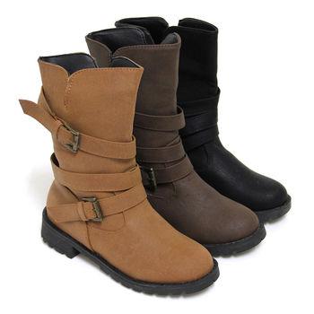 【Pretty】時髦金屬帶釦機車靴中筒靴-黑色、咖啡色、棕色