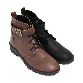 【Pretty】率性環扣造型綁帶舒適低跟騎士短靴-黑色、咖啡色