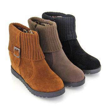【Pretty】內增高側拉鍊針織反摺扣環短靴-棕色、卡其色、黑色
