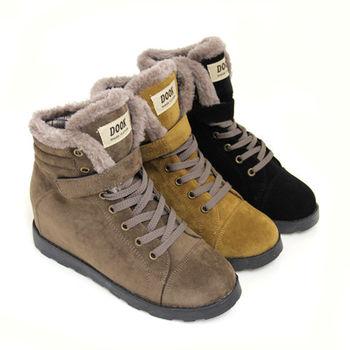【Pretty】個性女孩絨毛綁帶內增高休閒短靴-卡其色、棕色、黑色
