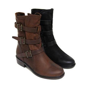 【GREEN PHOENIX】瀟脫旅人洗舊金屬皮飾扣皮繩磨砂牛皮低跟中筒靴-駱駝色、黑色