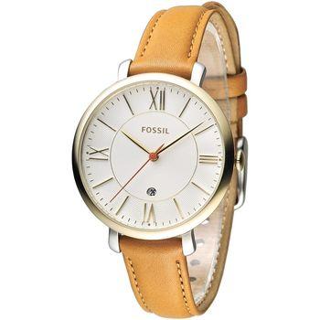FOSSIL 玩美俏女孩時尚皮帶錶-金框/咖啡(ES3737)