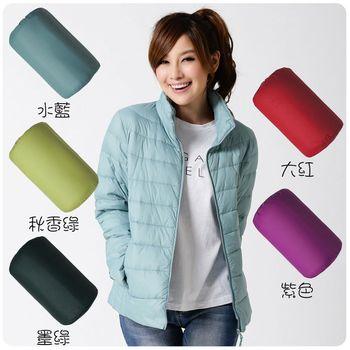 【TOMATO BEAR】增絨超暖輕量羽絨衣女/立領-5色(紫色、秋香綠、水藍、墨綠、紅色)
