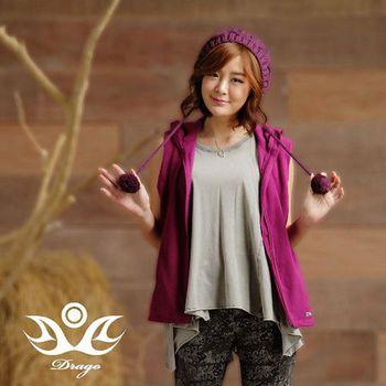 【Drago】刷毛中空保暖纖維連帽背心-女款  時尚搭配輕盈好穿
