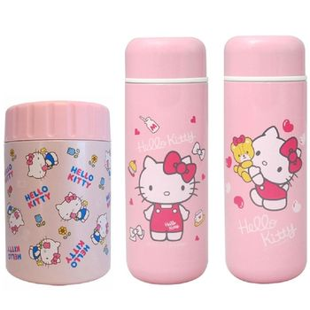 【Hello Kitty】凱蒂貓400ml真空保溫罐 +250ml真空保溫瓶暖心組合(兩款任選)