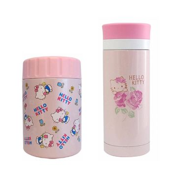 【Hello Kitty】凱蒂貓400ml真空保溫罐 +200ml真空保溫瓶暖心組合(KV-8806+KF-5200)