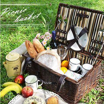 波帝莊園 歐式復古條紋 手工籐編野餐籃