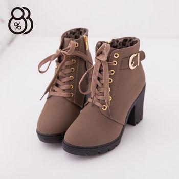 【88%】韓版 秋冬麂皮綁帶設計 跟高8cm 粗跟短靴 機車靴(2色)