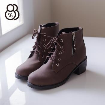 【88%】金屬拉鍊皮革材質 繫帶粗跟短靴 時尚個性帥氣 馬丁靴 機車靴 2色