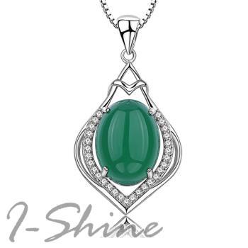 【I-Shine】珠光寶氣-925純銀 天然綠玉石鑲鑽水滴項鍊