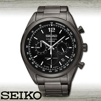 【SEIKO 精工】黑鋼三#30524;/紳士石英男錶