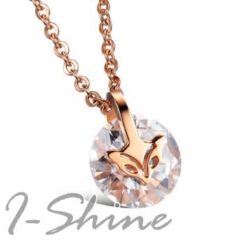 【I-Shine】狐媚吸引-西德鋼-晶鑽鈦鋼項鍊(玫瑰金)
