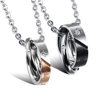 【I-Shine】甜蜜幸福-西德鋼-造型圓圈閃鑽情侶鈦鋼項鍊(對鍊組)