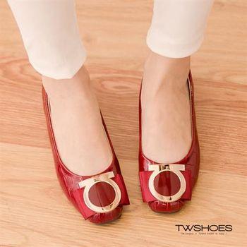 【TOMO】金屬圓環亮皮鱷魚紋楔型包鞋【K160F2942】