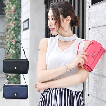 阿卡天使牛皮可愛甜美蝴蝶結手機錢夾手提肩背包(3色)PB836