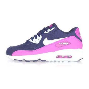 【NIKE】AIR MAX 90 MESH -GS 女運動休閒鞋- 慢跑 丈青紫