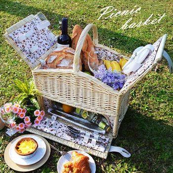 波帝莊園 籐編小屋 掀蓋保溫手提雙層野餐籃