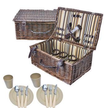 波帝莊園 歐式復古條紋 手工籐編野餐籃(附餐具兩件組)