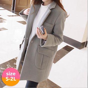 【SCL南加州丹寧時尚】T1667 三色選毛呢氣質保暖長版大衣外套