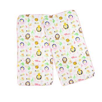 PUKU藍色企鵝 -  印花紗布澡巾2入30*60cm(粉色)