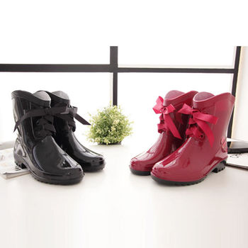 《DOOK》經典蝴蝶結短筒雨靴(黑色紅色)