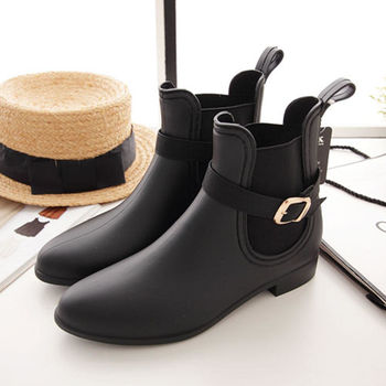 《DOOK》經典時尚短筒雨靴(黑色)