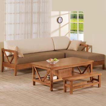 Bernice-奇爾實木L型沙發椅(三人座+貴妃椅)-右型