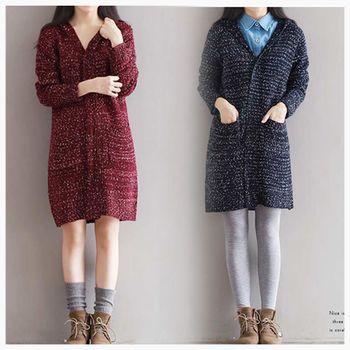 【SCL南加州丹寧時尚】T1670 三色選輕鬆針織連帽修身長版大衣外套