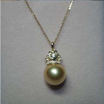 【品澐珠寶】現貨+預購 天然南洋金珠海水珍珠配鋯石皇冠18K金項鍊