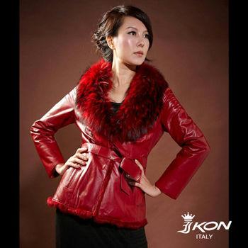 IKON 奢華名媛 貉子毛領小羊皮外套 限時限量回饋價